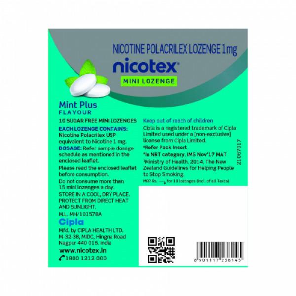 Nicotex Mini Lozenge Mint 2mg, 10's