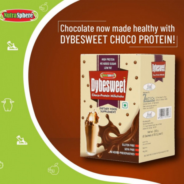 NutraSphere Dybesweet Chocolate Milk Shake Powder Mix With High Protein, 6 Sachets