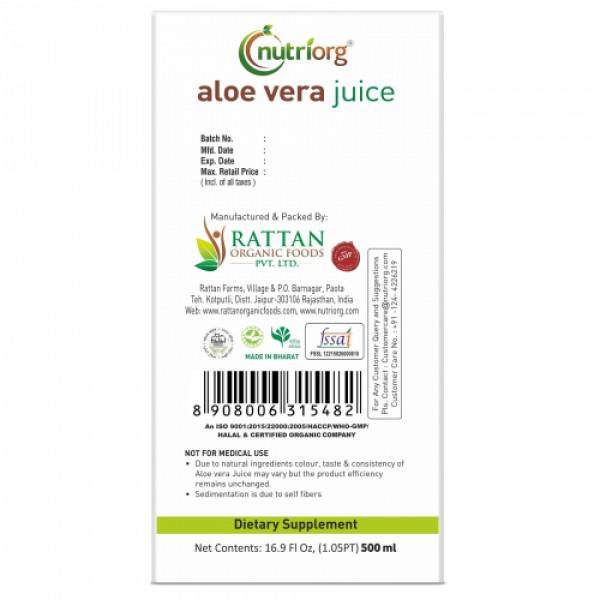 Nutriorg Aloevera Strawberry Juice, 500ml
