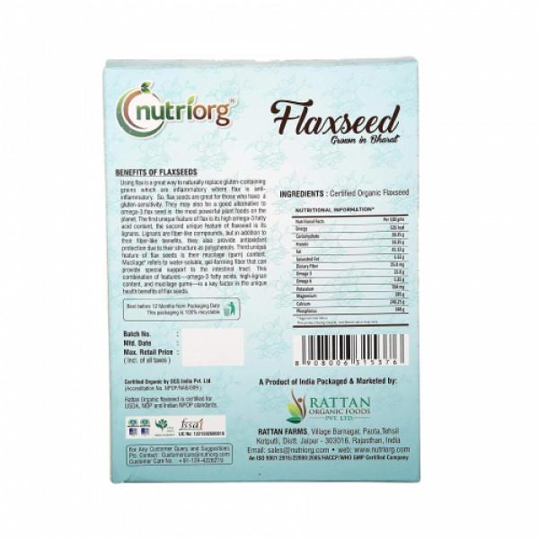 Nutriorg Organic Flaxseed Raw, 250gm (Pack of 2)