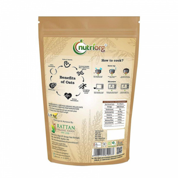 Nutriorg Organic Rolled Oats, 1500gm