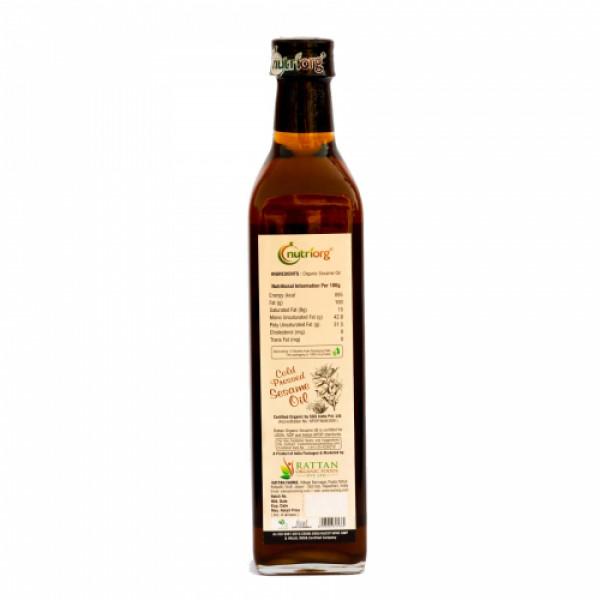 Nutriorg Organic Sesame Oil, 500ml (Glass Bottle)
