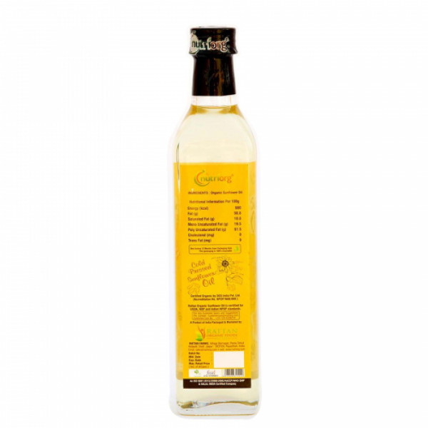 Nutriorg Organic Sunflower Oil, 500ml (Glass Bottle)