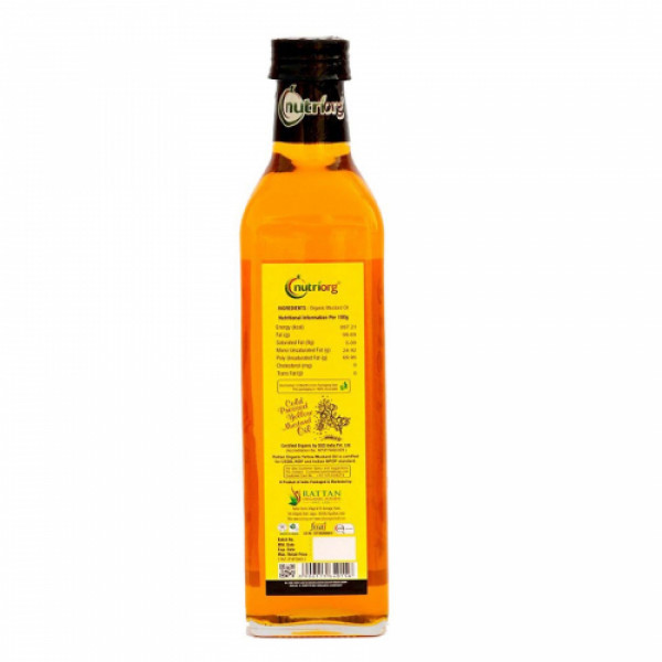 Nutriorg Organic Yellow Mustard Oil 500ml, (Glass Bottle)