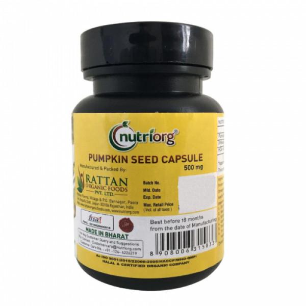 Nutriorg Pumpkin seed oil soft gel, 60 Capsules