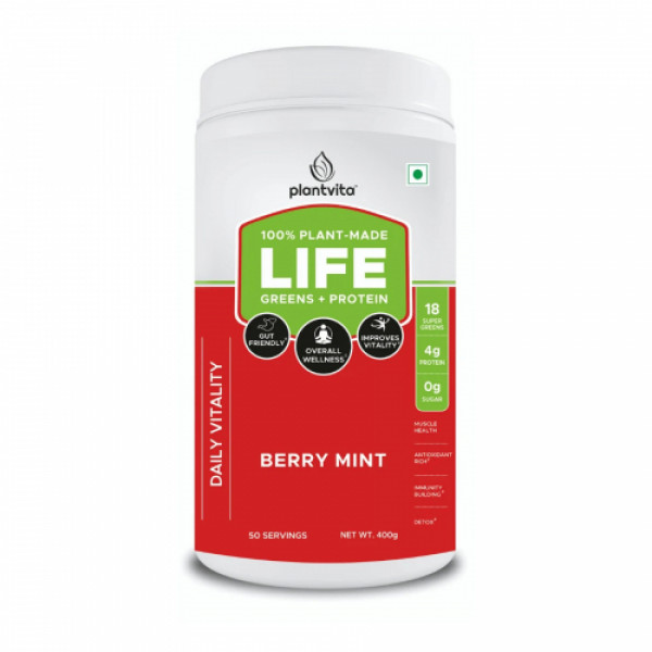 PlantVita Life Greens + Protein Daily Vitality Berry Mint Drink, 400gm