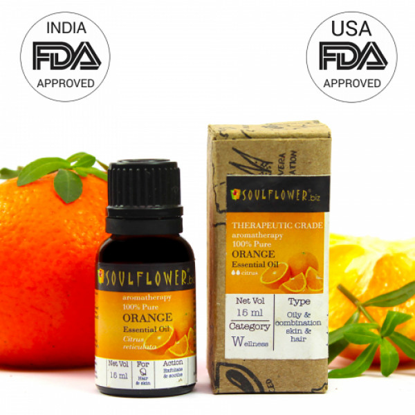 Soulflower Orange Essential Oil, 15ml