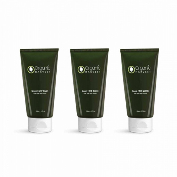 Organic Harvest Neem Face Wash With BSE Free Active, 50gm (Pack Of 3)