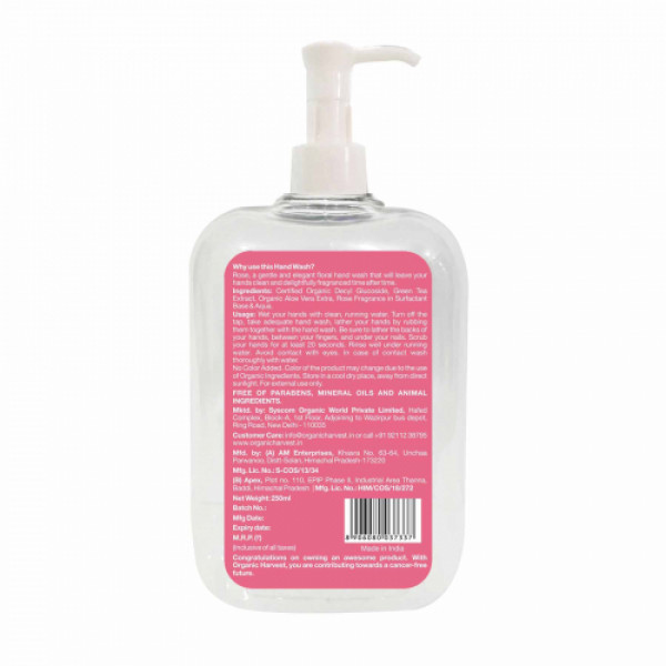 Organic Harvest Rose Hand Wash, 250ml (Pack Of 2)