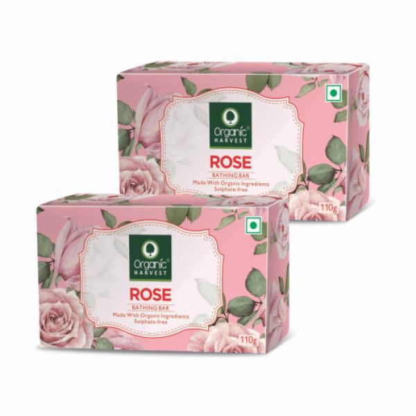 Organic Harvest Rose Bathing Bar, 110gm (Pack Of 2)