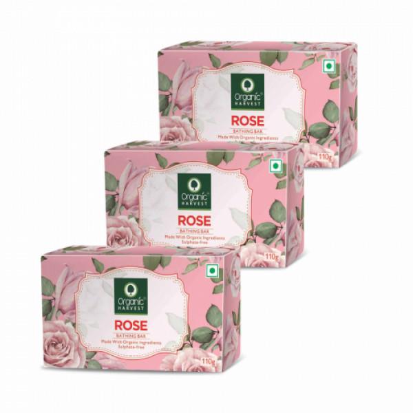Organic Harvest Rose Bathing Bar, 110gm (Pack Of 3)