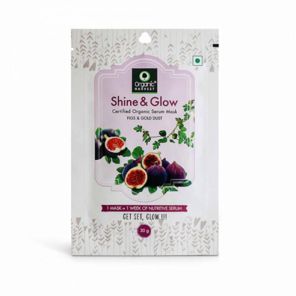 Organic Harvest Shine & Glow Face Sheet Mask, 20gm (Pack Of 10)