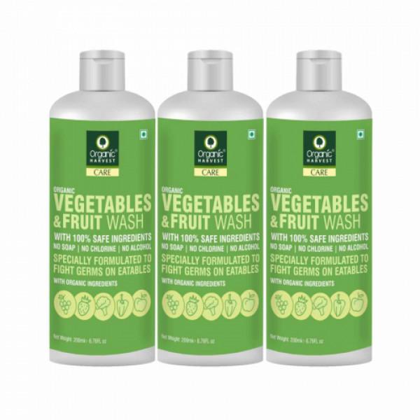 Organic Harvest Vegetables & Fruit Wash, 200ml (Pack Of 3)