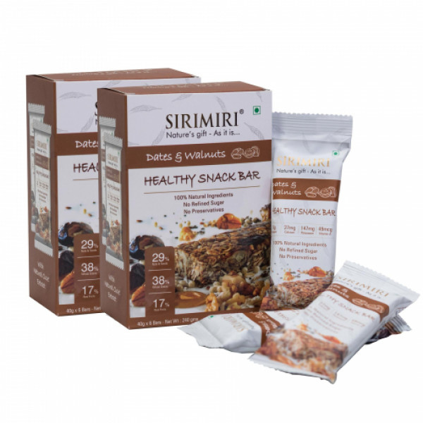 Sirimiri Dates & Walnuts Nutrition Bar, 40gm (Pack Of 12)