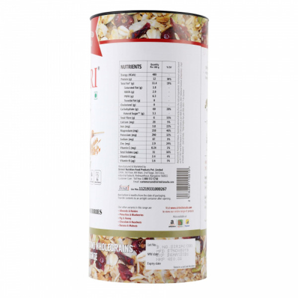 Sirimiri Premium Toasted Millet Muesli With Pumpkin Seeds & Cranberries, 500gm