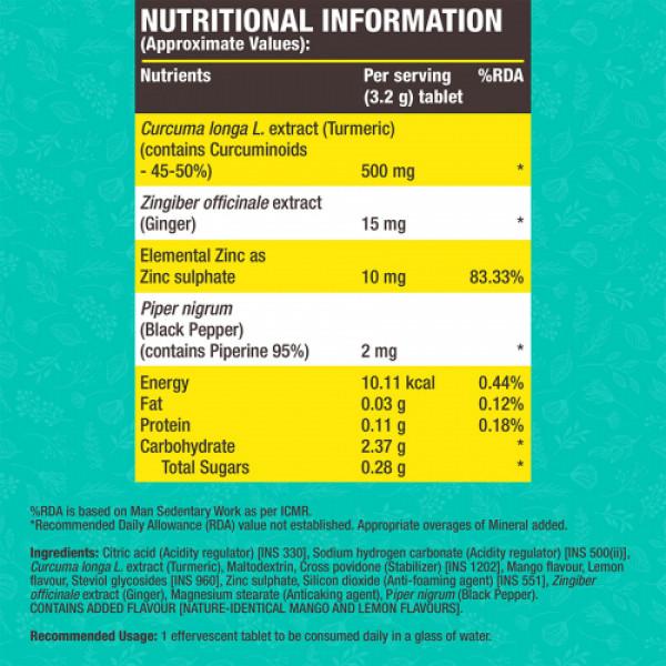 Fast&Up Curcumin Effervescent (Mango), 25 Tablets