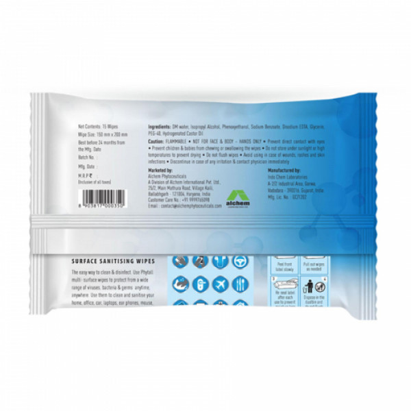 AlchemLife Phytall Surface Sanitising, 15 Wipes