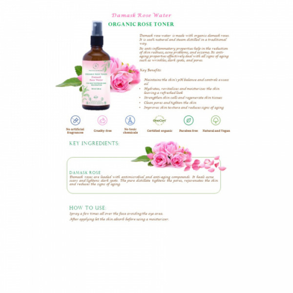 Precious Nature Organic Damask Rose water, 100ml