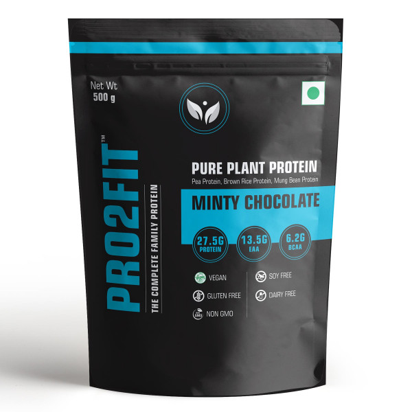 PRO2FIT Pure Plant Protein Minty Chocolate Flavour, 500gm