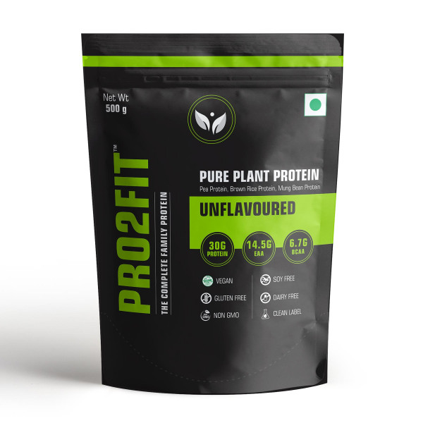 PRO2FIT Pure Plant Protein Unflavoured, 500gm