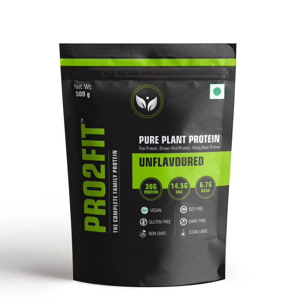 PRO2FIT Pure Plant Protein Unflavoured & Minty Chocolate Flavour, 500gm (Pack Of 2)