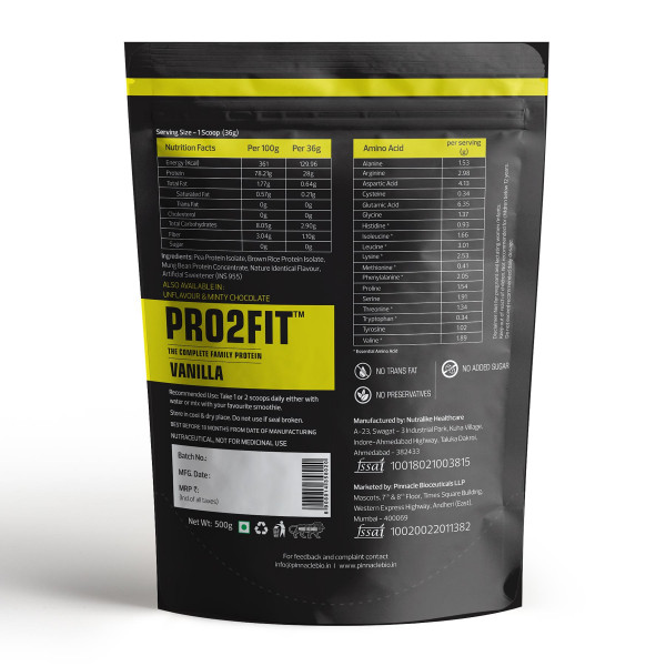 PRO2FIT Pure Plant Protein Vanilla Flavour, 500gm