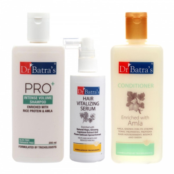 Dr Batra's Pro+Intense Volume Shampoo With Conditioner And Hair Vitalizing Serum Combo Pack