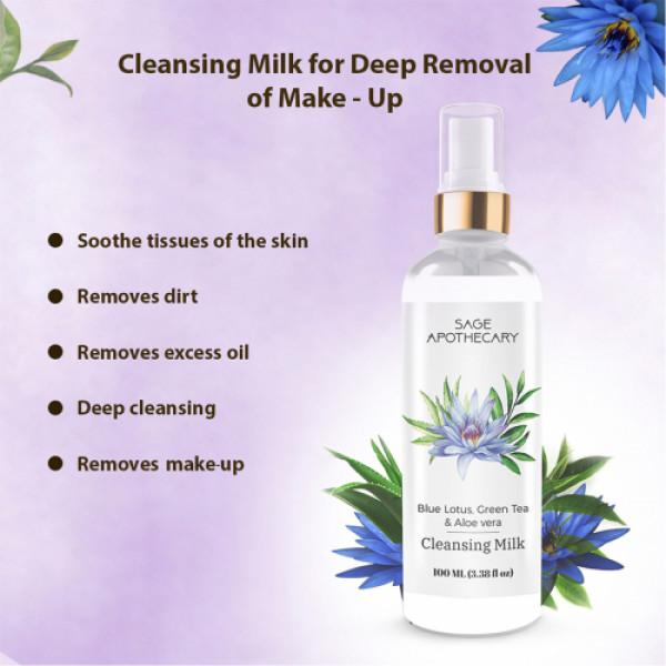 Sage Apothecary Blue lotus Green Tea & Aloe Vera Cleansing Milk, 100ml