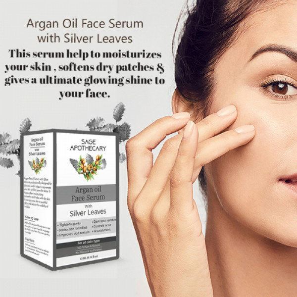 Sage Apothecary Argan Face Oil with Silver, 15ml