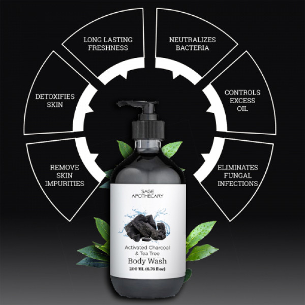 Sage Apothecary Activated Charcoal Body Wash, 200ml