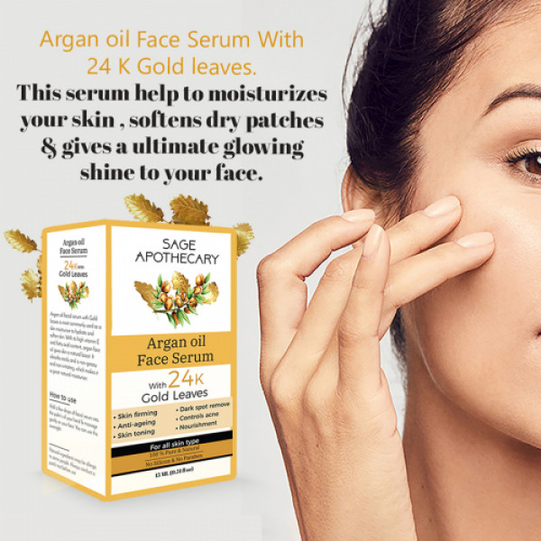 Sage Apothecary Argan Face Oil with Gold, 15ml