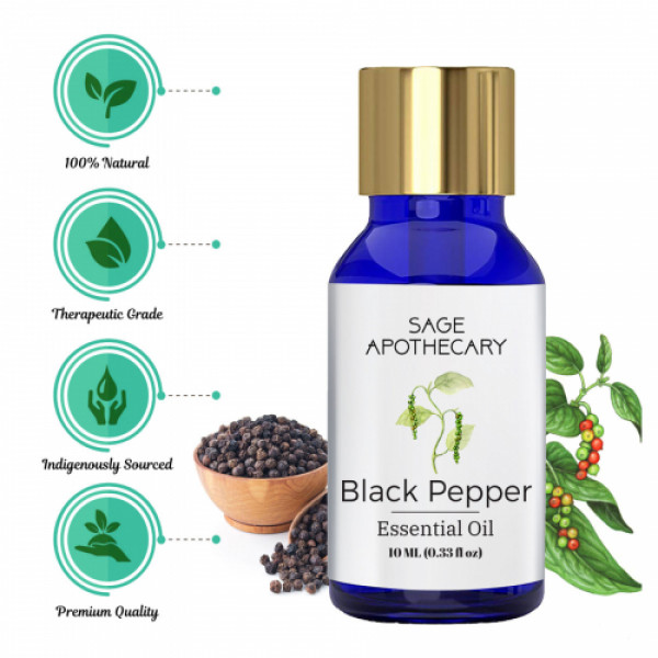 Sage Apothecary Black Pepper Essential Oil, 10ml
