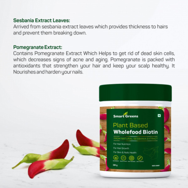 Smart Greens Plant Based Wholefood Biotin Powder, 300gm