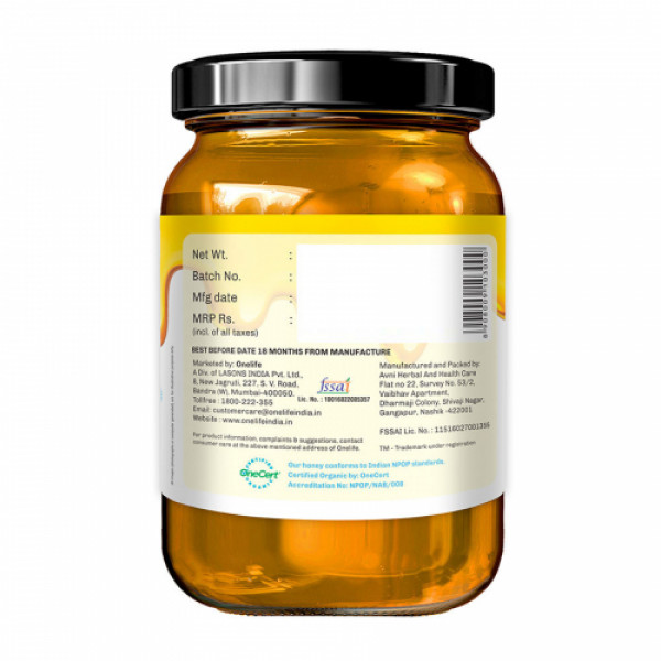 Onelife Multiflora Light Organic Honey, 650gm
