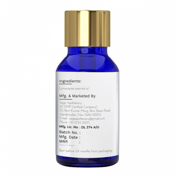Sage Apothecary Lemongrass Essential Oil, 10ml
