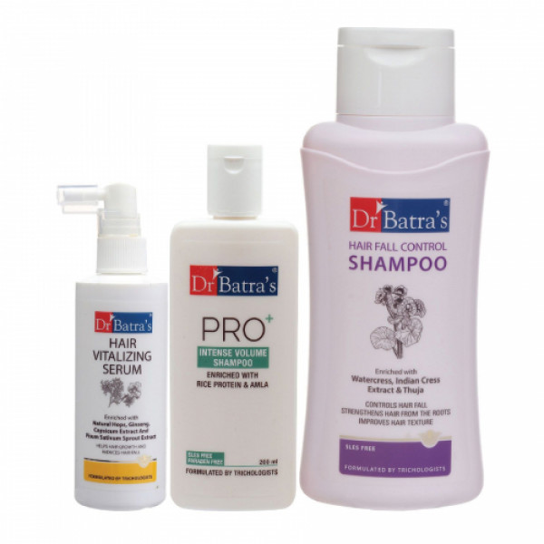 Dr Batra's Hair Vitalizing Serum, 125ml, Hair Fall Control Shampoo, 500ml With Pro+ Intense Volume Shampoo, 200ml Combo Pack