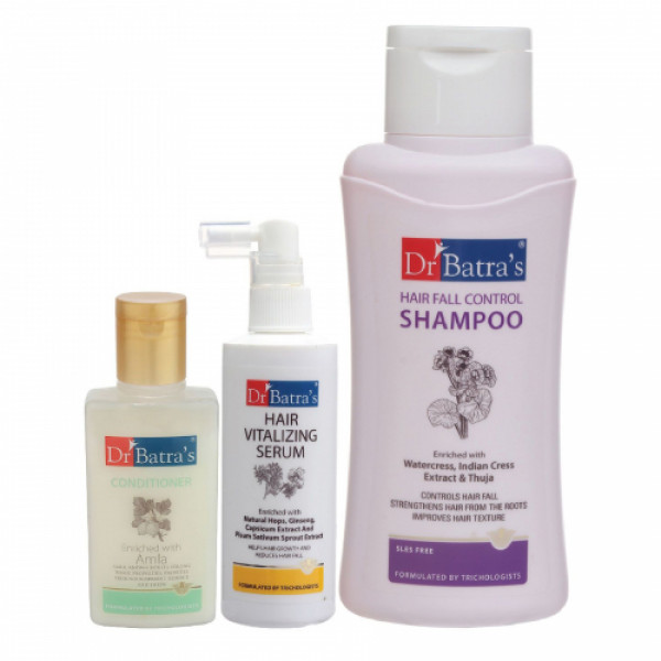 Dr Batra's Hair Vitalizing Serum, 125ml & Conditioner, 100ml with Hair Fall Control Shampoo, 500ml Combo Pack