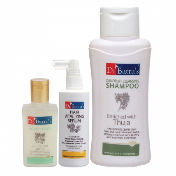 Dr Batra's Hair Vitalizing Serum, 125ml & Conditioner, 100ml with Dandruff Cleansing Shampoo, 500ml combo pack