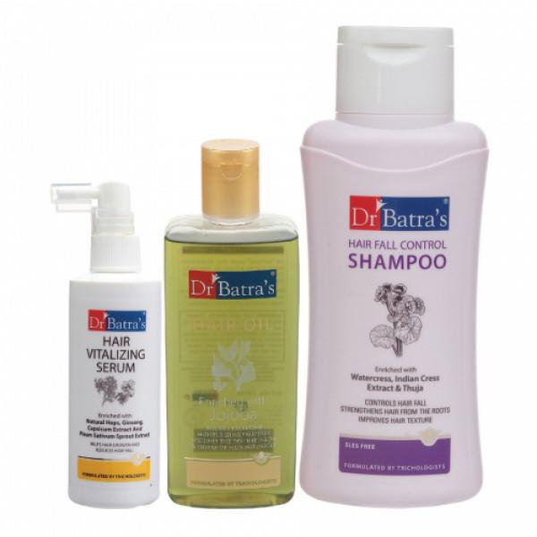 Dr Batra's Hair Vitalizing Serum, 125ml & Hair Fall Control Shampoo, 500ml with Hair Oil, 200ml Combo Pack