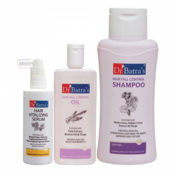 Dr Batra's Hair Vitalizing Serum, 125ml & Hair Fall Control Shampoo, 500ml with Hair Fall Control Oil, 200ml Combo Pack