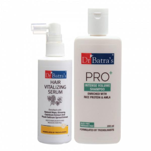 Dr Batra's Hair Vitalizing Serum, 125ml and Pro+ Intense Volume Shampoo, 200ml Combo Pack