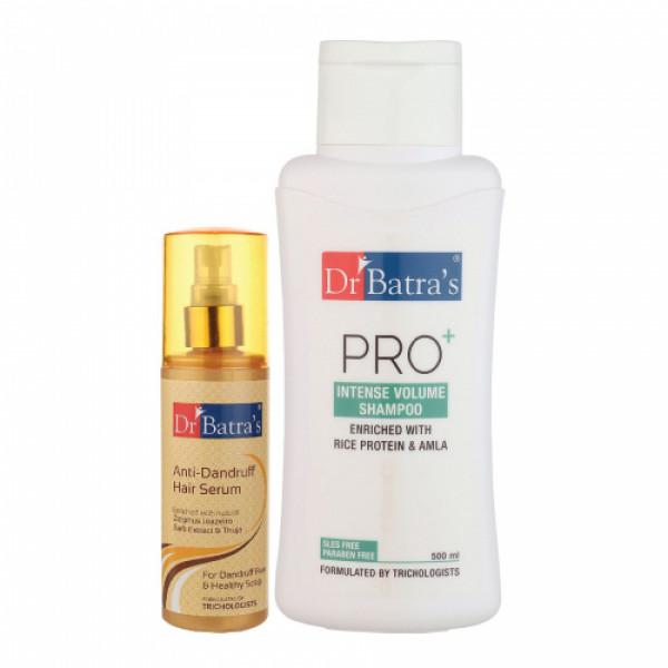 Dr Batra's Anti Dandruff Hair Serum With Pro+ Intense Volume Shampoo, 500ml Combo Pack