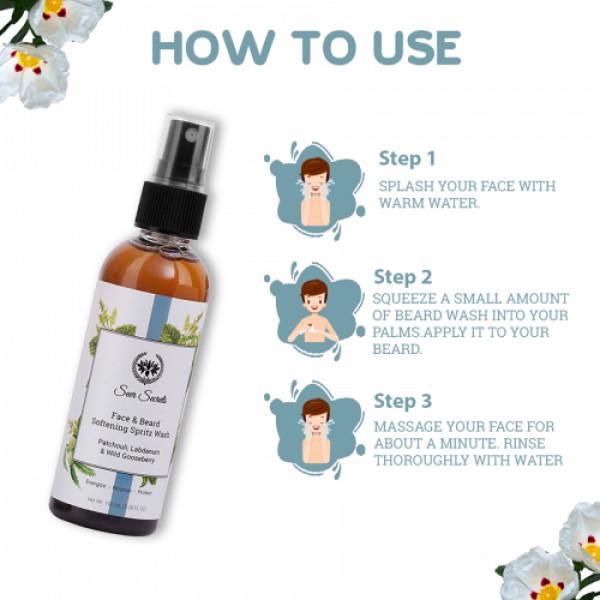 Seer Secrets Labdanum, Patchouli & Wild Gooseberry Face & Beard Softening Spritz Wash, 100ml