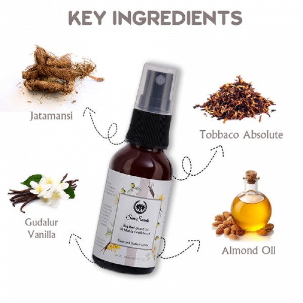 Seer Secrets Tobacco & Gudalur Vanilla Big Red Beard Oil of Manly Confidence, 30ml