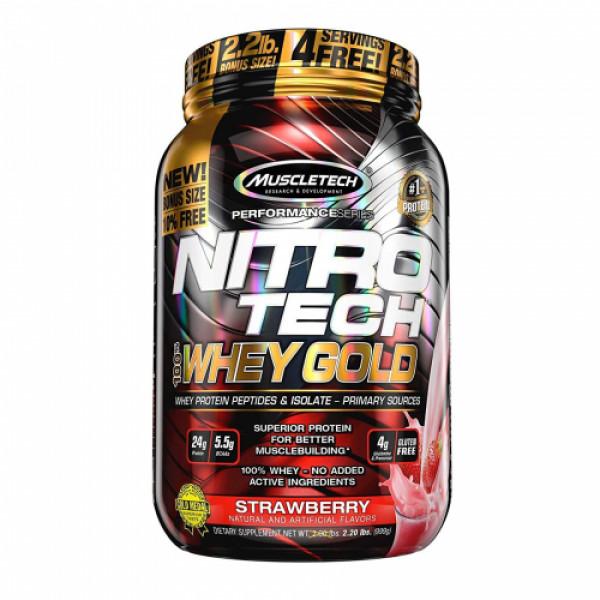Muscletech Nitro Tech Whey Gold Protein Powder Strawberry Protein Powder, 999gm
