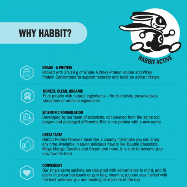 Habbit Active Whey Blend Protein Powder Vintage Vanilla Flavour, 450gm (15 Servings)