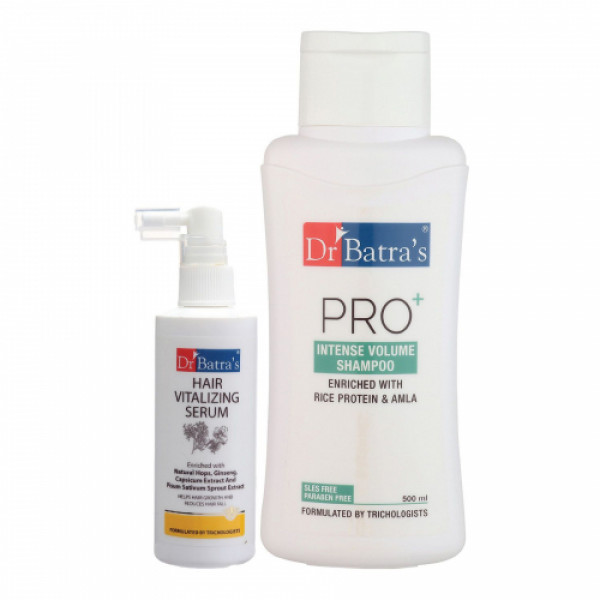 Dr Batra's Hair Vitalizing Serum, 125ml and Pro+ Intense Volume Shampoo, 500ml Combo Pack