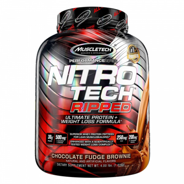 Muscletech Nitro Tech Ripped Weight Loss Protein Powder Chocolate Fudge Brown, 1.81kg