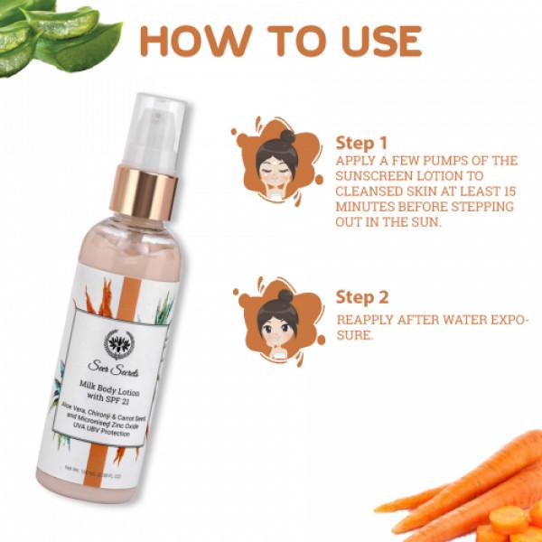 Seer Secrets Aloe Vera, Chironji & Carrot Seed Spf 21 Milk Lotion, 100ml