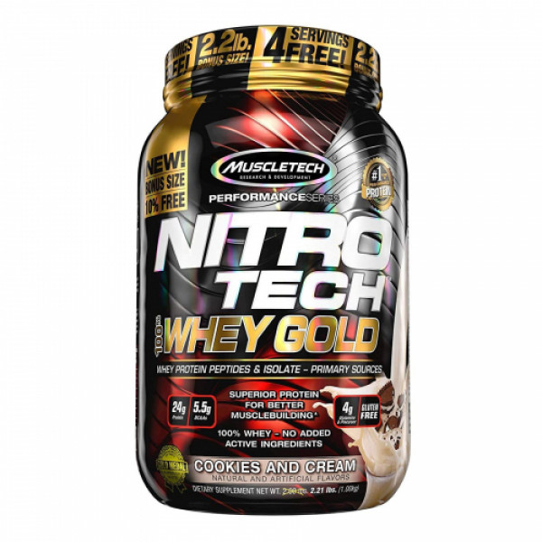 Muscletech Nitro Tech 100% Whey Gold Cookies and Cream, 1kg